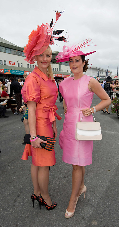 Finalists in the Anthony Ryan best dressed competition Amelia Fowles Co Down and  Onisa Owens Longford  at Ladies day of the Galway Races in Ballybrit. Photo:Andrew Downes