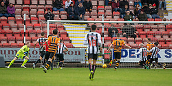 Alloa Athletic's Alan Trouten (10) scoring their second goal. Dunfermline 2 v 2 Alloa Athletic. Alloa win on penalties. Irn Bru cup game played 13/10/2018 at Dunfermline's home ground, East End Park.