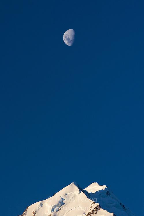 Moonrise over Mount Cook, Mount Cook National Park, New Zealand.