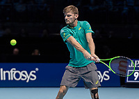 Tennis - 2017 Nitto ATP Finals at The O2 - Day Six<br /> <br /> Group Pete Sampras Singles: Dominic Thiem (Austria) Vs David Goffin (Belguim)<br /> <br /> David Goffin (Belguim) prepares to strike his return at the O2 Arena <br /> <br /> <br /> COLORSPORT/DANIEL BEARHAM