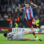 Trabzonspor's Burak YILMAZ (R) during their UEFA Champions League group stage matchday 4 soccer match Trabzonspor between CSKA Moskva at the Avni Aker Stadium at Trabzon Turkey on Wednesday, 02 November 2011. Photo by TURKPIX