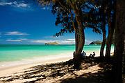 Kicking back in the shade at Waimanalo Beach, Oahu, Hawaii