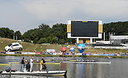 Poznan, POLAND, Final, Men's  Quadruple sculls final Italy winning the gold, at the 2008 FISA World Cup. Rowing Regatta. Malta Rowing Course on Sunday, 22/06/2008. [Mandatory Credit:  Peter SPURRIER / Intersport Images] . Rowing Course:Malta Rowing Course, Poznan, POLAND