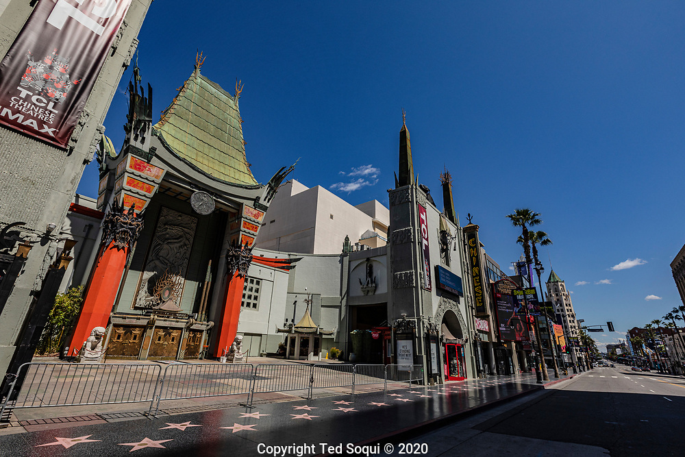 A desolate Hollywood blvd. Tourist have left for home due to Covid-19 concerns.<br /> 3/26/2020 Hollywood, CA USA<br /> Photo by Ted Soqui
