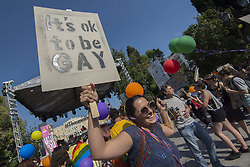 June 10, 2017 - Athens, Greece - Thousands take part in the Athens Pride 2017 parade. People of all ages, genders and sexual orientations demonstrated during the annual Athens Pride event to raise awareness, elevate the visibility of LGBT persons in Greek society and defend their rights against sexual discrimination. (Credit Image: © Nikolas Georgiou via ZUMA Wire)