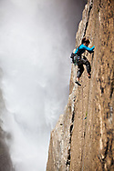 Madaleine Sorkin on the bold and beautiful Freestone route right next to the Yosemite Falls.