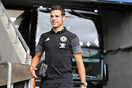 Cesar Azpilicueta of Chelsea arrives off the team bus ahead of the game. Premier league match, Swansea city v Chelsea at the Liberty Stadium in Swansea, South Wales on Sunday 11th Sept 2016.<br /> pic by  Andrew Orchard, Andrew Orchard sports photography.
