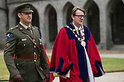 08/07/2018  repro  free:  Commandant Colin Campbell and Mayor of Galway Cllr. Niall McNelis lead out the procession at The National Day of Commemoration Ceremony at NUI Galway in honour of all those  Irishmen and Irish Women who served in past wars or on Service with the UN.Photo:Andrew Downes, XPOSURE