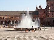 The Plaza de España, Seville, Spain built in 1928 for the Ibero-American Exposition of 1929.