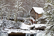 67395-04307 Glade Creek Grist Mill in winter, Babcock State Park, WV