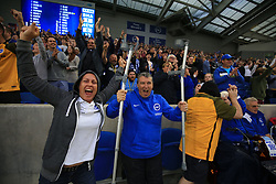 24 September 2017 -  Premier League - Brighton v Newcastle United - A Brighton fan celebrates the win waving a pair of crutches in the air - Photo: Marc Atkins/Offside