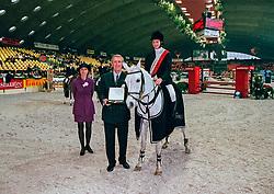 Hamerlinck Melanie, winnaar stijlrijden ponies, Wauters Eric<br /> Jumping Mechelen 1998<br /> © Hippo Foto - Dirk Caremans<br /> 03/12/2020