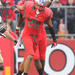 10 November 2012: Rutgers Scarlet Knights defensive back Brandon Jones (25) celebrates his defensive unit's fumble recovery during NCAA college football action between the Rutgers Scarlet Knights and Army Black Knights at High Point Solutions Stadium in Piscataway, N.J.. Rutgers defeated Army 28-7.