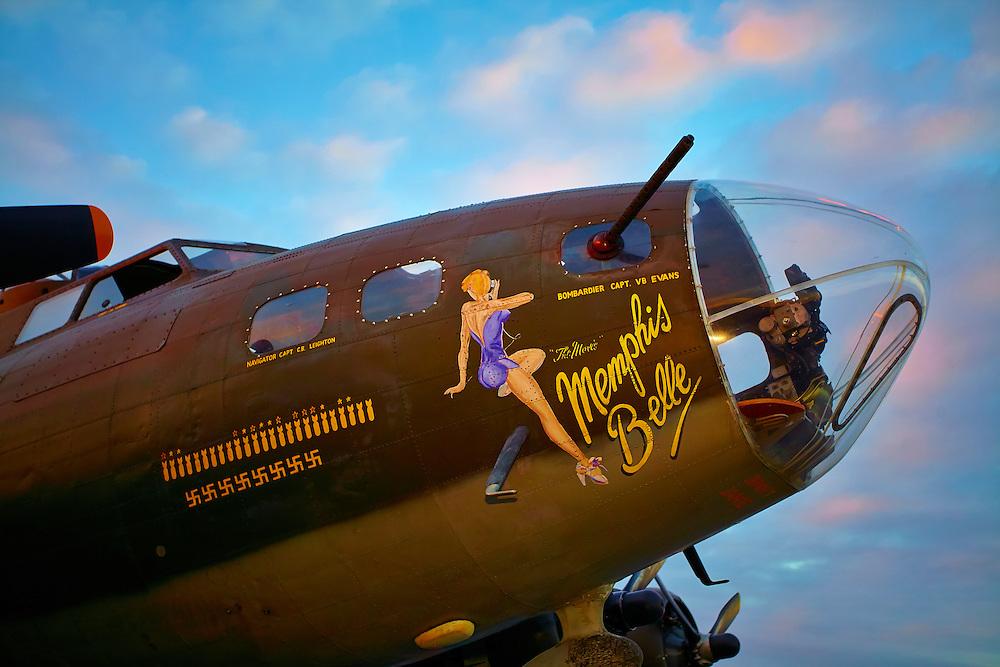 "Nose art of the ""movie"" B-17 Memphis Belle, photographed at Dekalb Peachtree Airport (PDK), Atlanta."