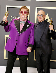 Elton John and Bernie Taupin at the 92nd Academy Awards - Press Room held at the Dolby Theatre in Hollywood, USA on February 9, 2020.