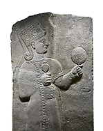 Hittite relief sculpted orthostat stone panel of Long Wall Basalt, Karkamıs, (Kargamıs), Carchemish (Karkemish), 900 - 700 B.C. Anatolian Civilizations Museum, Ankara, Turkey.<br /> <br /> Goddess Kubaba. Goddess is depicted from the profile. The part below the chest of the relief is broken. She holds a pomegranate in her hands on her chest. She carries a one-horned headdress on her head. Her braided hair hangs down to her shoulder. The text in the hieroglyphics is not understood. The lower part of the relief has been restored. <br /> <br /> On a White Background. .<br />  <br /> If you prefer to buy from our ALAMY STOCK LIBRARY page at https://www.alamy.com/portfolio/paul-williams-funkystock/hittite-art-antiquities.html  - Type  Karkamıs in LOWER SEARCH WITHIN GALLERY box. Refine search by adding background colour, place, museum etc.<br /> <br /> Visit our HITTITE PHOTO COLLECTIONS for more photos to download or buy as wall art prints https://funkystock.photoshelter.com/gallery-collection/The-Hittites-Art-Artefacts-Antiquities-Historic-Sites-Pictures-Images-of/C0000NUBSMhSc3Oo