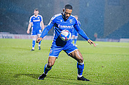 Gillingham FC defender Ryan Jackson (2) tries to keep the ball in play during the EFL Sky Bet League 1 match between Gillingham and Crewe Alexandra at the MEMS Priestfield Stadium, Gillingham, England on 26 January 2021.