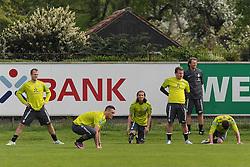 28.04.2011, Trainingsgelaende Werder Bremen, Bremen, GER, 1.FBL, Training Werder Bremen, im Bild Daniel Jensen (Bremen #20), Marko Arnautovic (Bremen #7), Predrag Stevanovic (Bremen #31), Philipp Bargfrede (Bremen #44), Dominik Schmidt (Bremen #41)   EXPA Pictures © 2011, PhotoCredit: EXPA/ nph/  Frisch       ****** out of GER / SWE / CRO  / BEL ******
