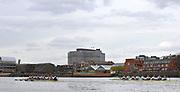 Putney, London, University Boat Race, [Oxford left] both crews racing towards Hammersmith during the 156th Race, on the Championship Course Putney to Hammersmith  Saturday  03/04/2010 [Mandatory Credit Peter Spurrier/ Intersport Images]  <br /> <br /> CUBC Crew, Bow - Rob WEITEMEYER, Geoff ROTH, George NASH, Peter McCELLAND, Deaglan McEACHERN, Henry PELLY, Derek RASMUSSEN, Stroke - Fred GILL and Cox - Ted RANDOLPH<br /> <br /> OUBC crew, Bow - Ben MYERS, Martin WALSH, Tyler WINKLEVOSS, Cameron WINKLEVOSS, Sjoerd HAMBURGER, Matt EVANS, Simon GAWLIK, Stroke - Charlie BURKITT and Cox - Adam BARHAMAND