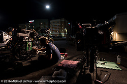 Buck Carson of Texas worked late through the night making needed repairs on his 1916 BSA during the Motorcycle Cannonball Race of the Century. Stage-2 from York, PA to Morgantown, WV. USA. Sunday September 11, 2016. Photography ©2016 Michael Lichter.