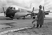 29/03/1963<br /> 03/29/1963<br /> 29 March 1963<br /> B.E.A. Aircrash at Dublin Airport. The crashed BEA Vanguard G-APEJ that carried 43 passengers and seven crew from London to Dublin. The Airport Terminal can be seen 1/2 mile in background. There were no fatalities in the accident. Note Emergency worker/ Fireman with hose on standby as one colleague checks the cockpit and another takes a look at the failed undercarriage. Photos, Photo, Snap, Streets, Street,