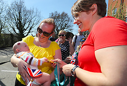 Lizzy Yarnold meets members of the public in Swanley during the victory bus tour through Sevenoaks, Kent.