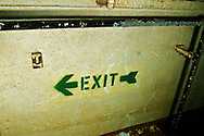 Exit sign, from hold, USS Kittiwake