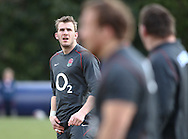 Tom Croft looks on during the England elite player squad trainnig session at Pennyhill Park, Bagshot, UK, on 11th March 2011  (Photo by Andrew Tobin/SLIK images)
