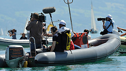 Worlds media in Langenargen to cover Match Race Germany. Photo: Chris Davies/WMRT