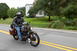 Dave Minerva Portrait riding his 1916 Harley-Davidson model F on the Motorcycle Cannonball coast to coast vintage run. Stage-2 (251-miles) from Keene, NH to Binghampton, NY. Sunday September 9, 2018. Photography ©2018 Michael Lichter.