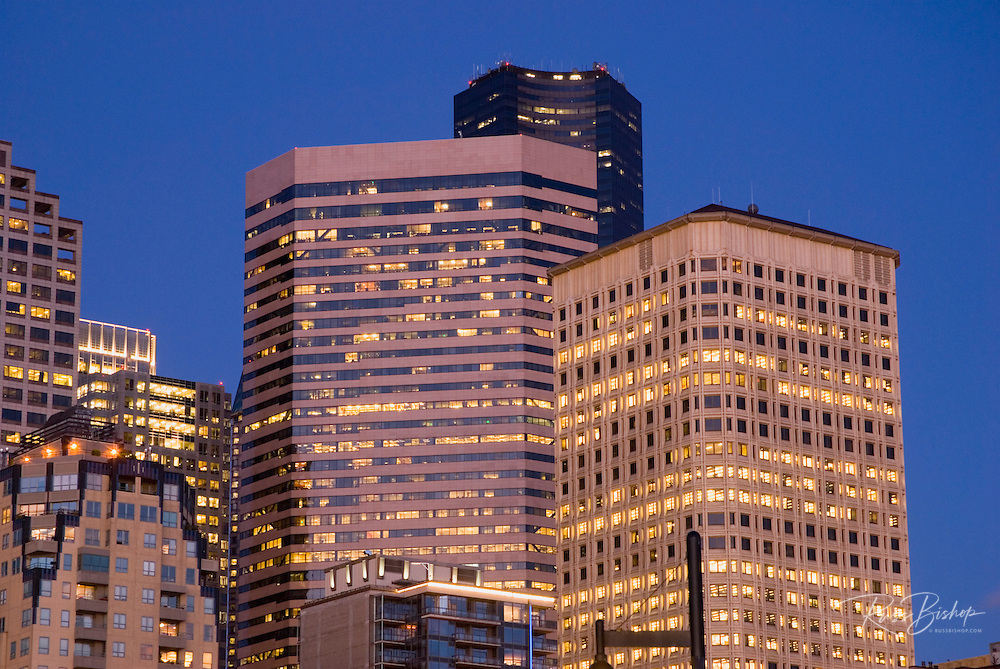 Downtown buildings at dusk, Seattle, Washington