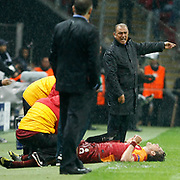 Galatasaray's head coach Fatih Terim (L) and Johan Elmander (R) during their UEFA Champions League Group H matchday 3 soccer match Galatasaray between CFR Cluj at the TT Arena Ali Sami Yen Spor Kompleksi in Istanbul, Turkey on Tuesday 23 October 2012. Photo by Aykut AKICI/TURKPIX