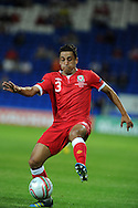 Neil Taylor of Wales in action.  Euro 2012 Qualifying match, Wales v Montenegro at the Cardiff City Stadium in Cardiff  on Friday 2nd Sept 2011. Pic By  Andrew Orchard, Andrew Orchard sports photography,