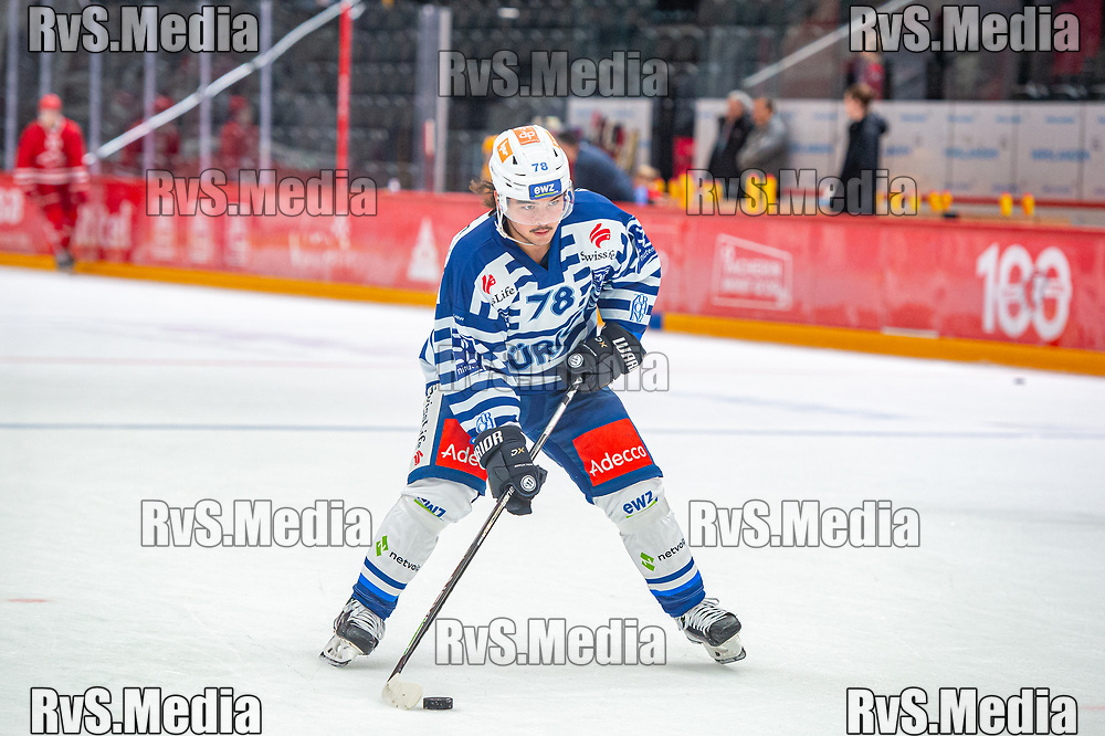 LAUSANNE, SWITZERLAND - OCTOBER 01: Kyen Sopa #78 of ZSC Lions warms up prior the Swiss National League game between Lausanne HC and ZSC Lions at Vaudoise Arena on October 1, 2021 in Lausanne, Switzerland. (Photo by Monika Majer/RvS.Media)