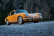 Image of a 1967 Bahama Yellow Porsche 912 in Salt Lake City, Utah, American Southwest by Randy Wells