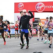 London, England, UK. 28 April 2019. Chris Evans at the Elite Start runners at Virgin Money London Marathon at Greenwich.
