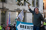 Protester calling for a free Ireland outside The Supreme Court as the first day of the hearing to rule on the legality of suspending or proroguing Parliament begins on September 17th 2019 in London, United Kingdom. The ruling will be made by 11 judges in the coming days to determine if the action of Prime Minister Boris Johnson to suspend parliament and his advice to do so given to the Queen was unlawful. (photo by Mike Kemp/In Pictures via Getty Images)