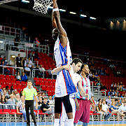 Anadolu Efes's Stephane Lasme (L) during their Turkish Basketball League Play Off Semi Final round 2 match Anadolu Efes between Trabzonspor at Abdi Ipekci Arena in Istanbul Turkey on Friday 31 May 2015. Photo by Aykut AKICI/TURKPIX