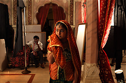 Avika Gor, 12, takes a break backstage from her role as the young bride Anandi in Balika Vadhu, a television show currently being broadcast in India. Rajasthan, India on May 3, 2009.