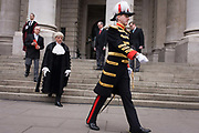 The City Marshal during the traditional ceremony of the proclamation of the dissolution of Parliament, on the day that David Cameron announces the beginning of the 2015 election campaign. City Officers and officials help proclaim the dissolving of parliament on the day that the period of Britain's general election starts. Accompanied by constables in cloaks, the three Esquires: The City Marshall, the Sword Bearer and the Mace Bearer (who is properly called 'the Common Cryer and Sergeant-at-arms'); who run the Lord Mayor's official residence, announces from the steps of Royal Exchange, Cornhill, to the capital's ancient financial district.
