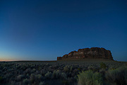 Fort Rock is a volcanic landmark called a tuff ring, located on an ancient  lake bed in north Lake County, Oregon,. The ring is about 4,460 feet in diameter and stands about 200 feet high above the surrounding plain. © Michael Durham
