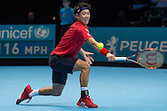 Kei Nishikori of Japan during day four of the Barclays ATP World Tour Finals at the O2 Arena, London, United Kingdom on 16 November 2016. Photo by Martin Cole.