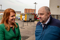 EMBARGOED UNTIL 00:01 24 April 2019<br />Pictured: Ash Denham discusses the problems of safety with Wauchope House building manager Mark McHale<br /><br />Today, Community Safety minister Ash Denham launched the Scottish Government's consultation on Strengthening Fire Safety for High Rise Domestic Buildings following the Grenfell Tower fire in London.  Ms Denholm was joined by Assistant Chief Fire Officer Ross Haggart and Mark McHale, building manager of Wauchope House, <br /><br /><br />Ger Harley | EEm 23 April 2019