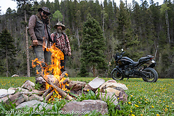 Danger Dan Hardick making a campfire with Nick Huff just outside Red River, NM, USA. Saturday, May 29, 2021. Photography ©2021 Michael Lichter.