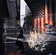 """Patriotic Americana - After 9/11.Attending a floral memorial in a 5th Avenue store front..In the week after the September 11th attacks, America sought to express their anger and patriotic unity. .As New Yorkers try to pick up the pieces of their lives in mid-town Manhatten , a worker carefully waters a floral memorial in the window of a 5th Avenue store window. New York City. """"Don't waste time in mourning. Organize!"""" - From a New York poster."""