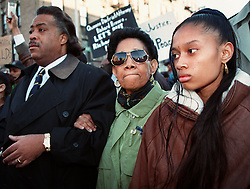 Kevin Cedeno, a 16-year-old who was fatally shot in the back by a police officer on a Washington Heights street on 6 April 1997. The Rev. Al Sharpton, a Democratic mayoral candidate who has spearheaded the protests surrounding Mr. Cedeno's shooting, decried what he portrayed as the police department's unharnessed use of force, particularly in inner-city neighborhoods.<br /> <br /> ''We are here because of an injustice; we're here because of a wrong,'' Mr. Sharpton said. ''It's not right that in some parts of the city people take liberties they don't in other parts of the city.''<br /> Continue reading the main story<br /> <br /> Outside the church, a crowd of families gathered with photographs of loved ones pinned to their chests. The group, which included Iris Baez, the mother of Anthony Baez, who died in a confrontation with officers in the Bronx, and relatives of Jose Antonio Sanchez, a cook who was killed by officers in a Queens social club, descend routinely upon trials, funerals and protest marches involving police brutality.<br /> <br /> The police say Mr. Cedeno, who was on probation for armed robbery, was clutching a machete when he was shot by Officer Anthony Pellegrini, who was responding to a 911 call of ''shots fired.''<br /> <br /> Officer Pellegrini was at least 15 feet from Mr. Cedeno when he fired, the police say, and several civilian witnesses have said there was no one near Mr. Cedeno when he was shot. But another officer said he thought the weapon Mr. Cedeno was carrying was a shotgun, and a third officer said Mr. Cedeno was running toward him when Officer Pellegrini fired. The police department and district attorney's office are investigating the shooting, which ignited a series of protests and candlelight vigils by Washington Heights residents.