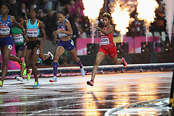 London, August 09 2017 . Phyllis Francis, USA, wins the women's 400m final in 49.92 seconds ahead of Salwa Eid Naser, Bahrain, second, and Allyson Felix, USA, in third on day six of the IAAF London 2017 world Championships at the London Stadium. © Paul Davey.