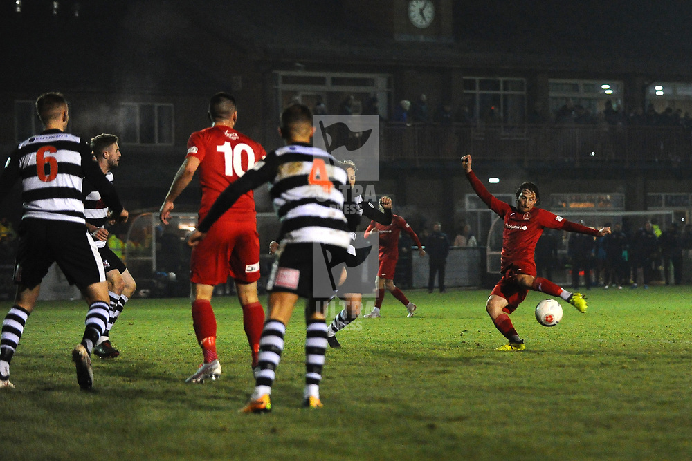 TELFORD COPYRIGHT MIKE SHERIDAN James McQuilkin of Telford shoots during the Vanarama Conference North fixture between Darlington and AFC Telford United at Blackwell Meadows on Saturday, November 30, 2019.<br /> <br /> Picture credit: Mike Sheridan/Ultrapress<br /> <br /> MS201920-032