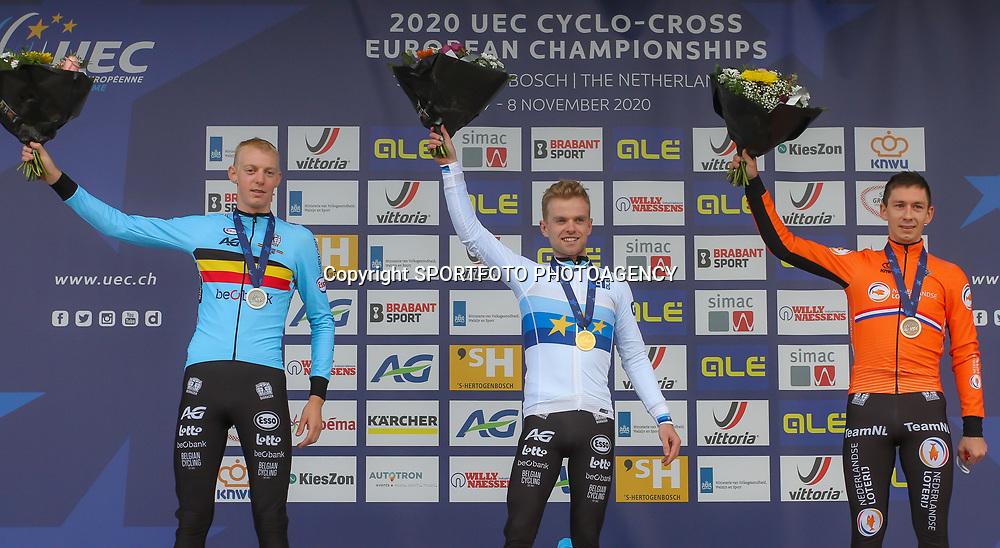 08-11-2020: Wielrennen: EK Veldrijden: Rosmalen<br />Podium EC Cyclocross Eli Iserbyt, Michael Vanthourenhout, Lars van der Haar
