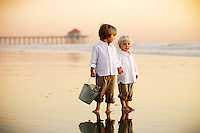 27 November 2011:  Jeff, Nancy, Jonah (4) and Levi (2) Wells at the beach for a grandparents photo session during sunset northside of the Huntington Beach Pier.